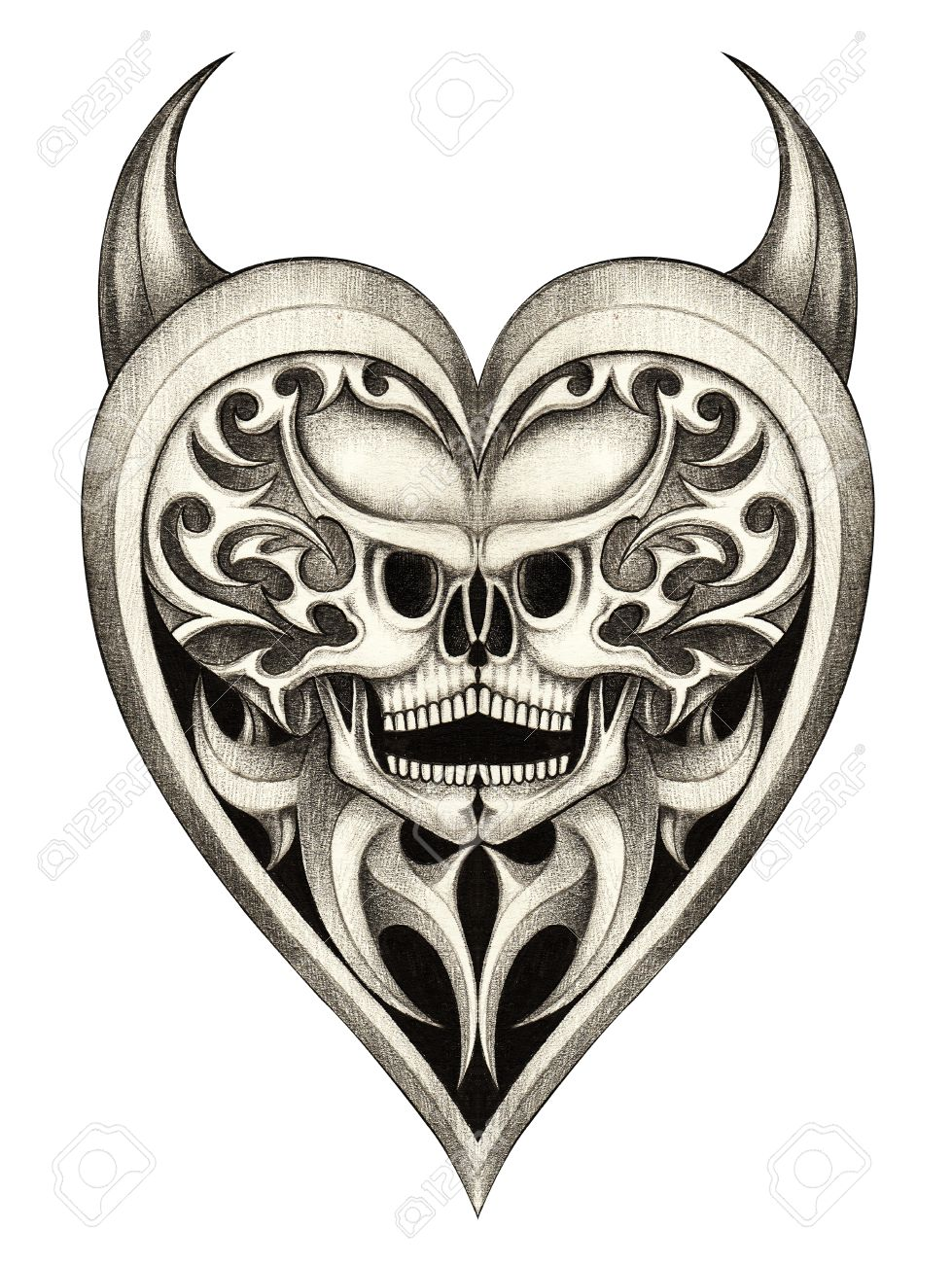 979x1300 Skull Heart Devil Tattoohand Pencil Drawing On Paper. Stock Photo
