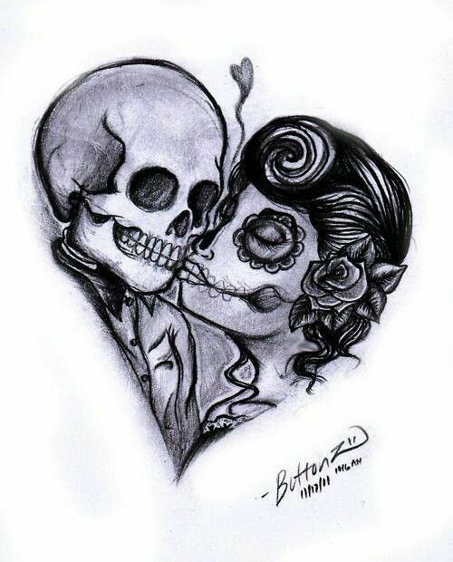 500x620 Skull Heart Tats Tattoo, Sugar Skulls And Tatting