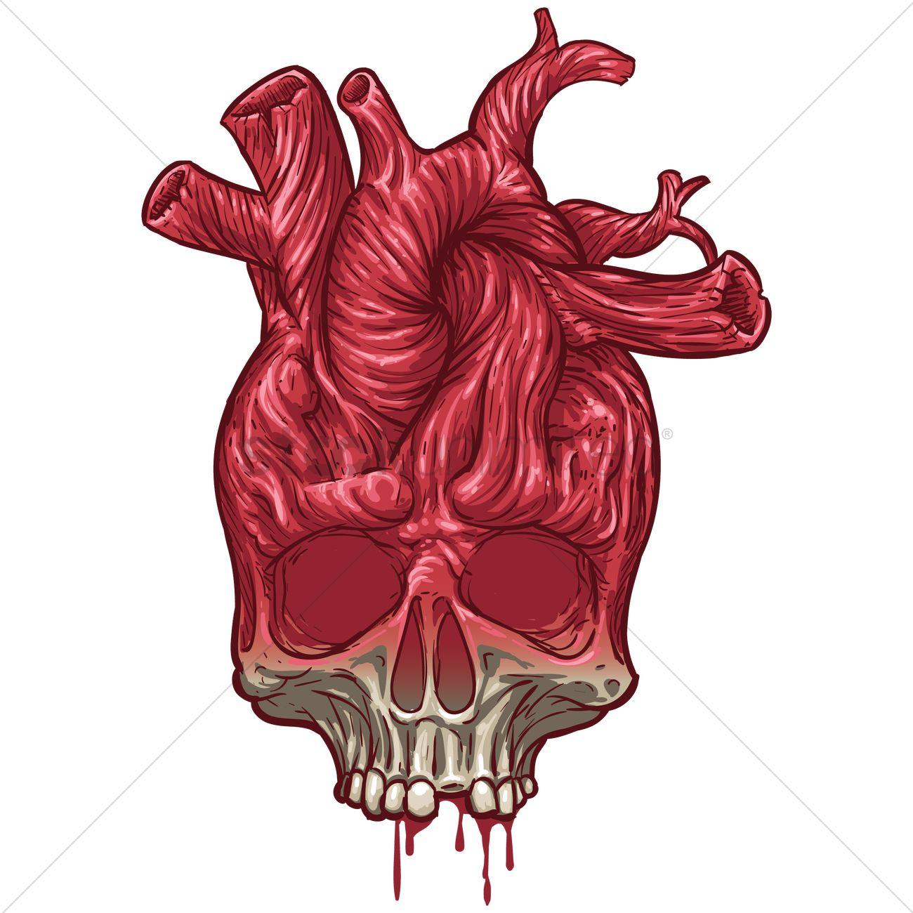 1300x1300 Skull Heart Vector Image