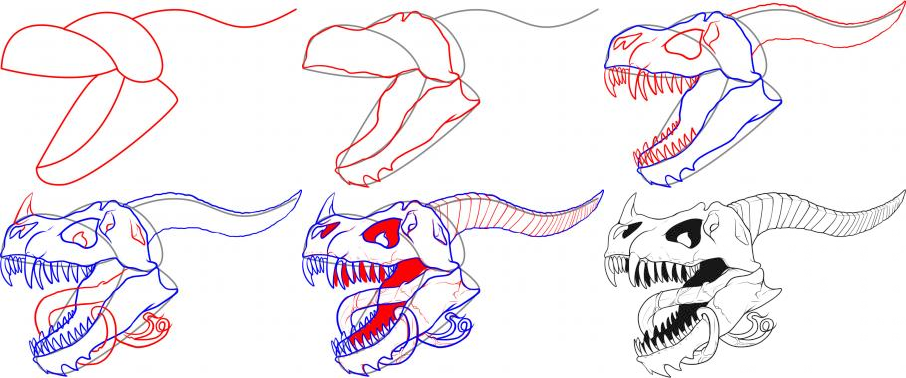 how to draw a skull and rose