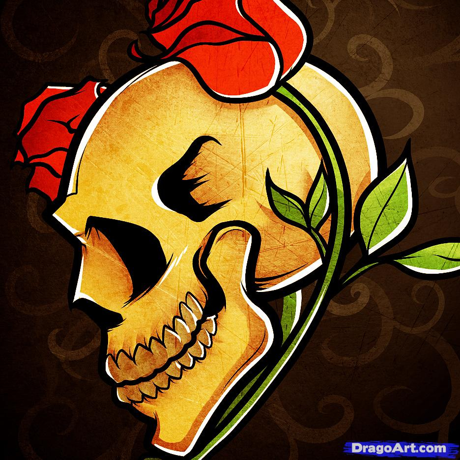 936x936 Skull Rose Drawing How To Draw A Skull Roses, Skull