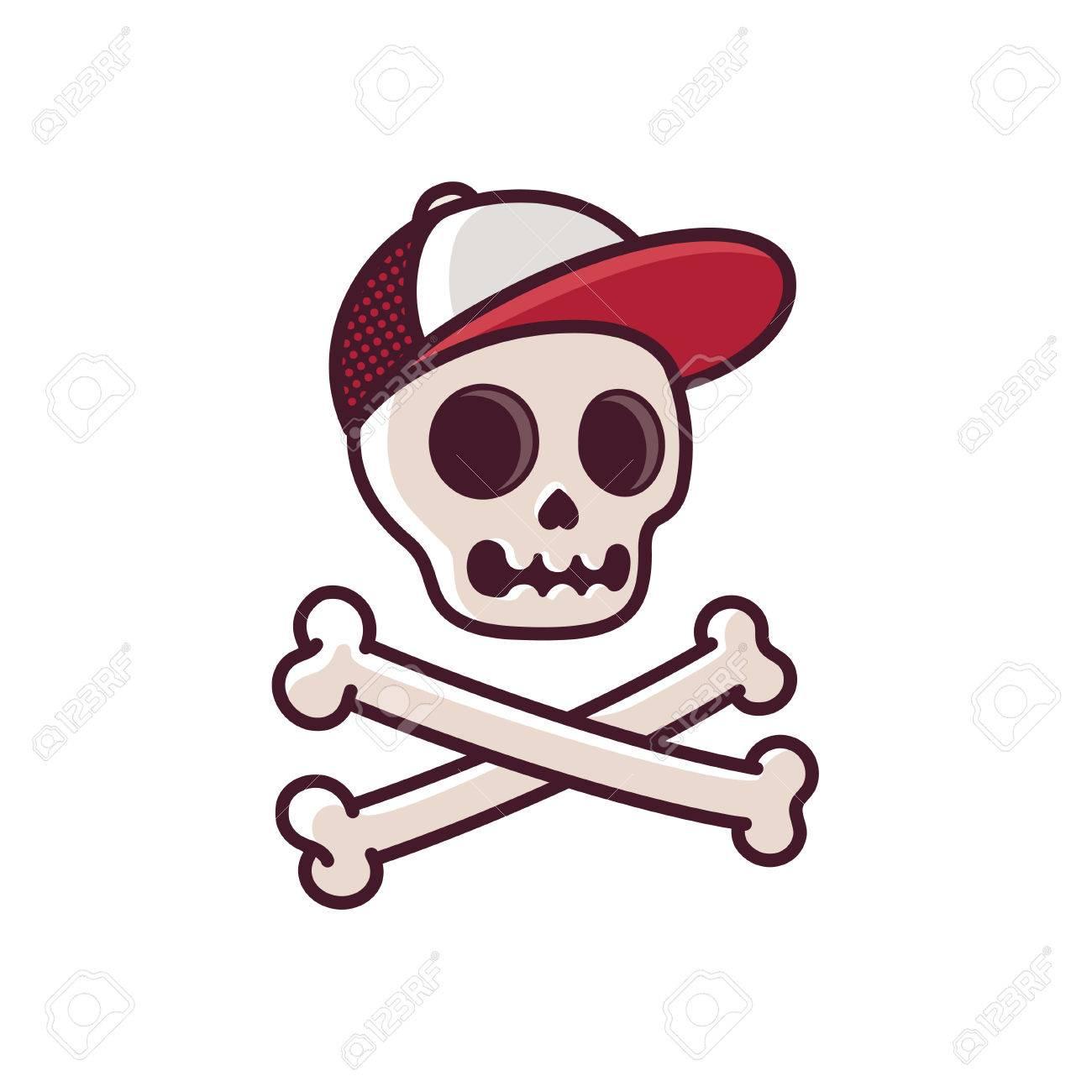 1300x1300 Cartoon Human Skull In Baseball Cap With Crossbones. Cool Comic