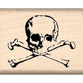 350x350 Skull Amp Crossbones Rubber Stamp 1 Inch X 1 14