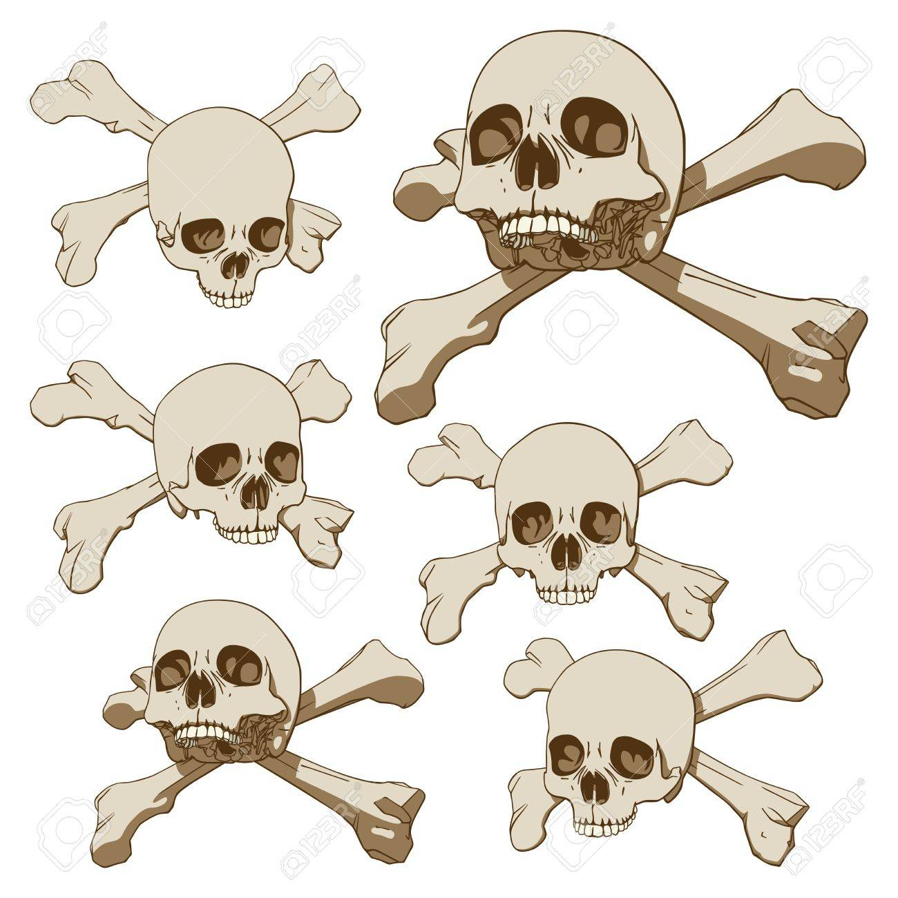 1300x1300 Set Of Five Drawings Of Human Skull With Crossbones Vector