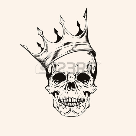 450x450 Hand Drawn Sketch Scull With Crown. Tattoo Line Art. Vintage