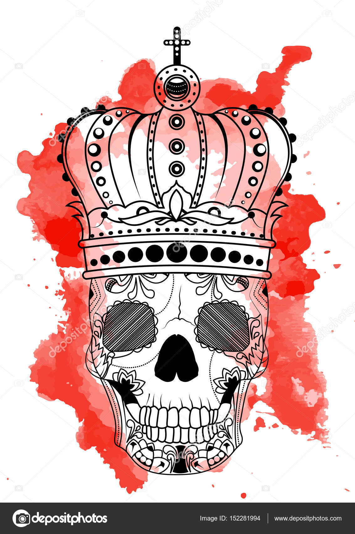 1133x1700 Line art hand drawing black skull with crown on had isolated on