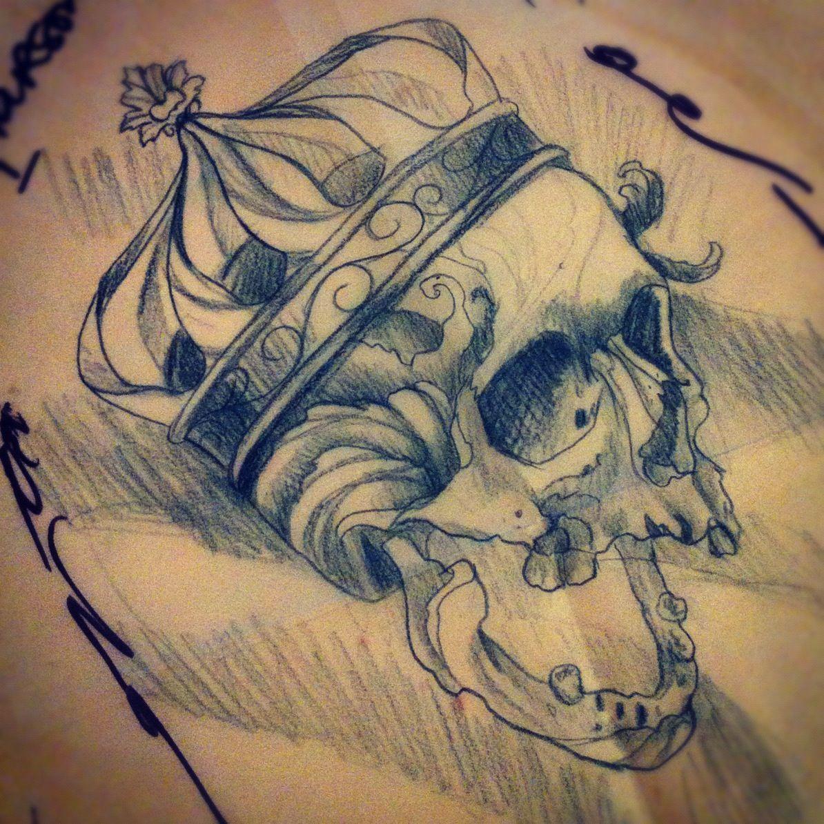 1194x1194 Crown Skull Tattoo