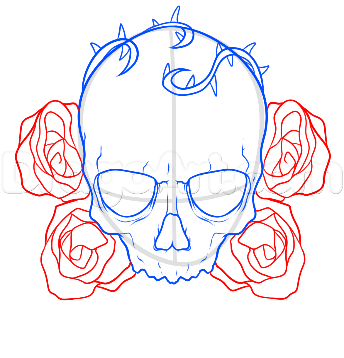 1173x1222 How To Draw A Skull And Roses Tattoo Step 5 Tattoos