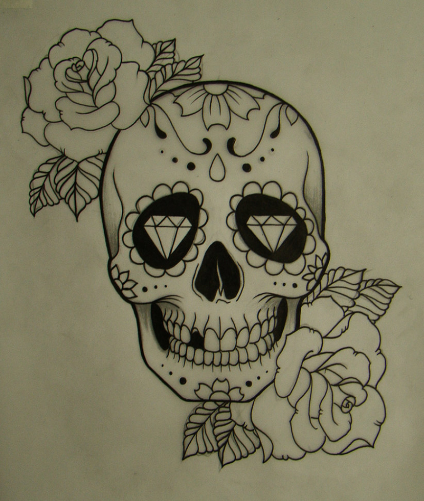 867x1024 Candy Skull Drawing Flower Skull Drawing Tumblr Images About