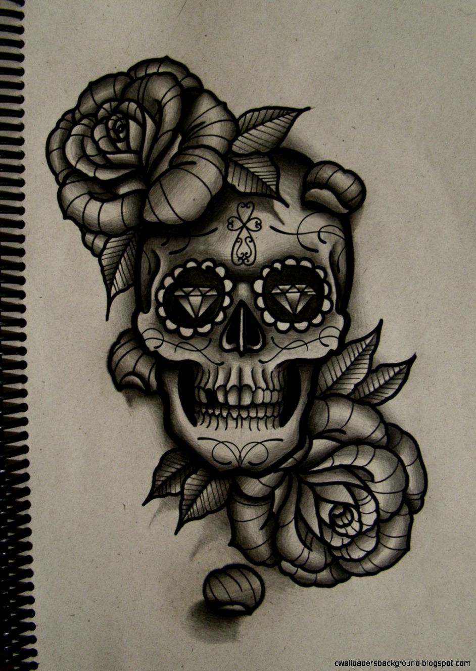 942x1328 Rose And Skull Drawing Tumblr Wallpapers Background