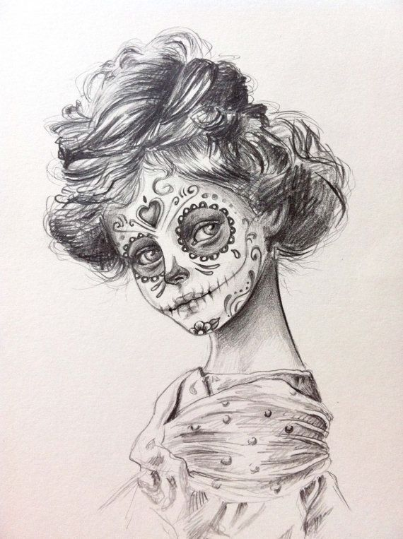 570x763 Sugar Skull Drawing Tumblr Day Of The Dead Sugar Skull Hair