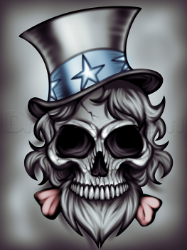 263x350 How To Draw Uncle Sam Skull, Step By Step, Skulls, Pop Culture