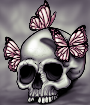 300x350 How To Draw A Skull And Butterflies, Step By Step, Skulls, Pop
