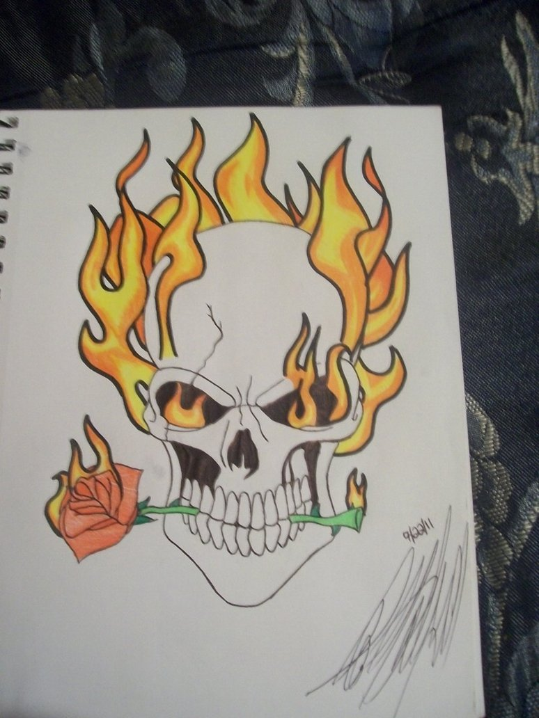 774x1032 Drawings Of Skulls On Fire Group 73
