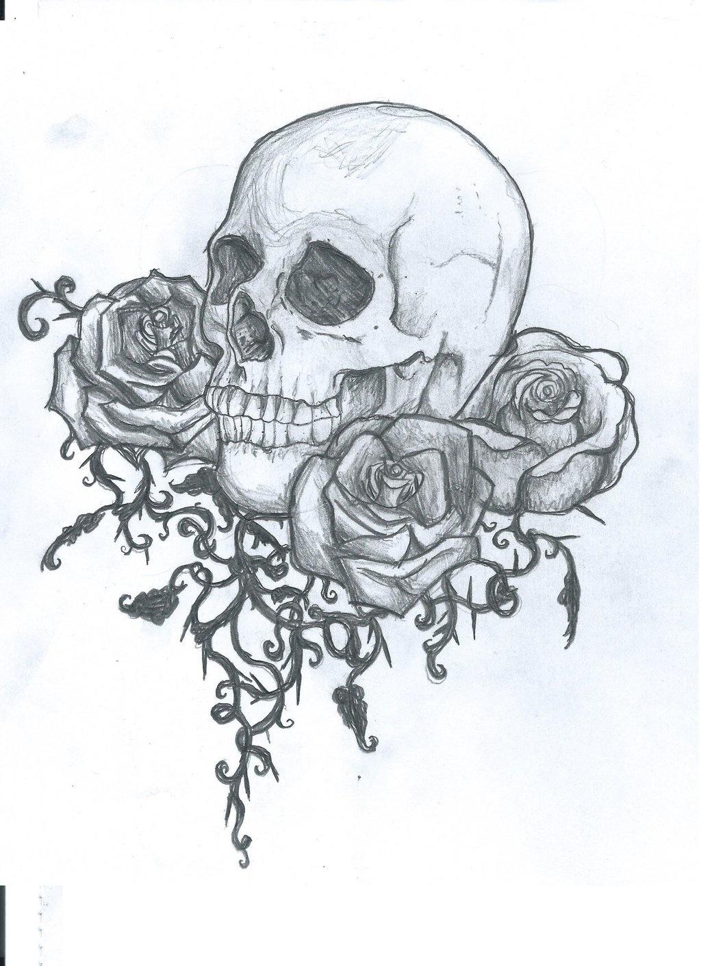 1024x1411 Skull And Roses Tattoo Design AEUR PinteresaEUR