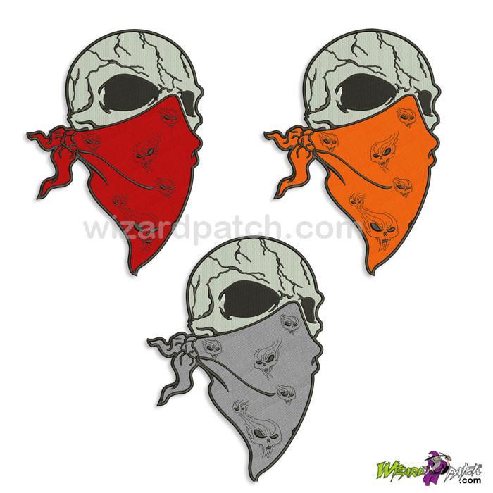 700x700 Bandana Wearing Evil Skull With Dark Eyes Embroidered Iron