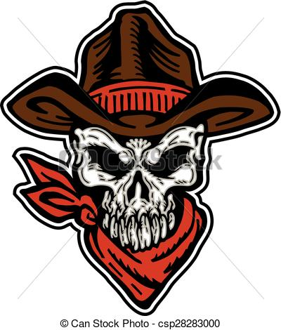 400x470 Cowboy Skull Mascot With Hat And Bandana Vector Clipart