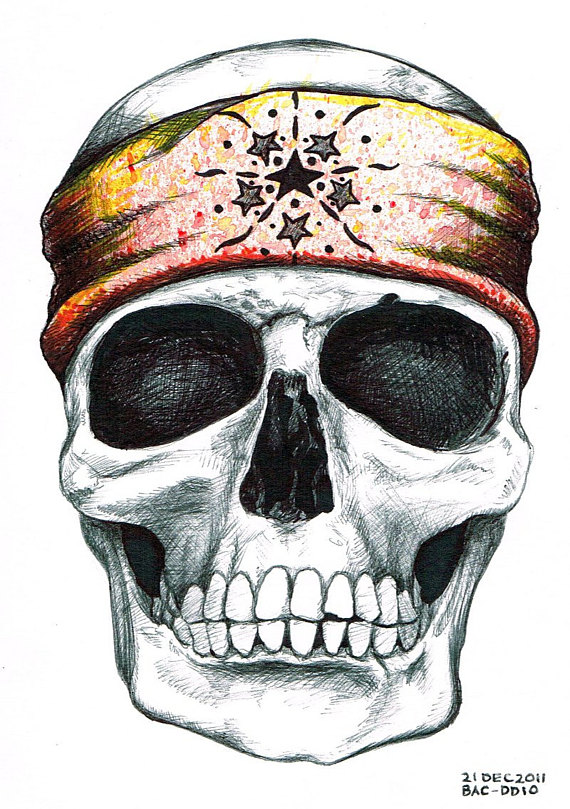 570x809 How To Draw A Skull With A Bandana 7997278