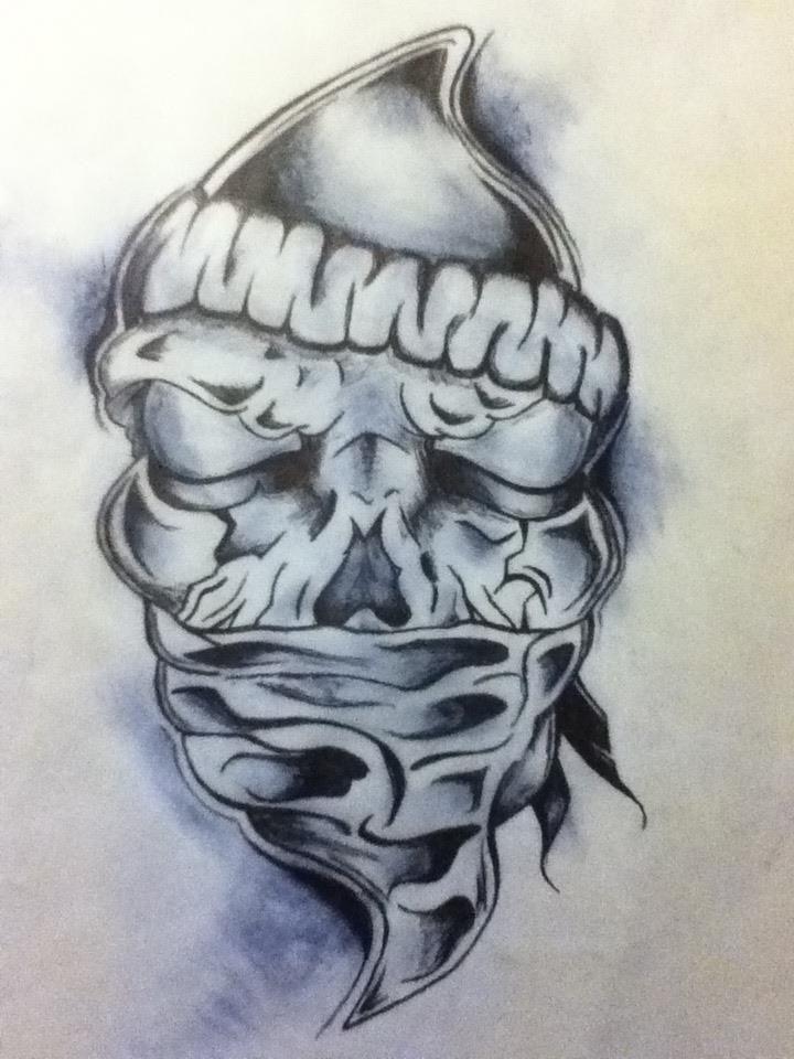 720x960 Skull With Bandana Tattoo Skull With Bandana Tattoos Bandana