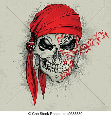 450x470 Skull Background. Illustration Of Skull With Bandana On Vector