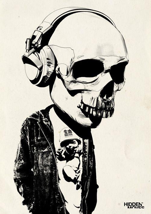 501x709 Bobblehead Skull + Headphones By Hiddenmoves