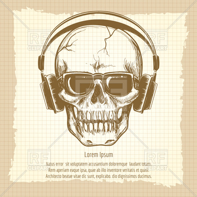 400x400 Drawing Skull Sketch With Headphones Vintage Style Royalty Free
