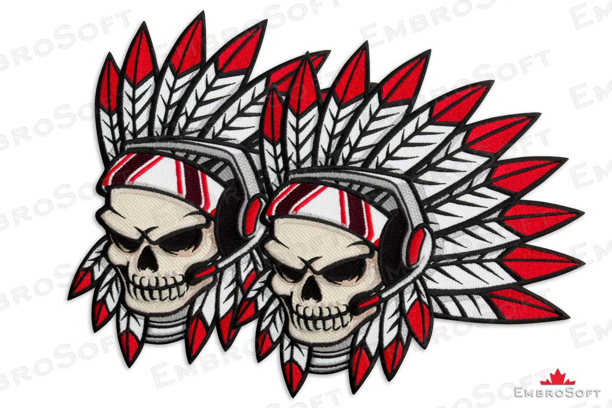 1200x800 Large Patch Indian Future Punk Skull With Headphones