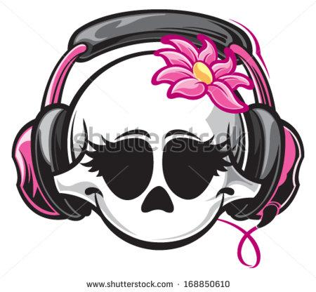 450x416 Skeleton With Headphones Skull Headphones Stock Photos