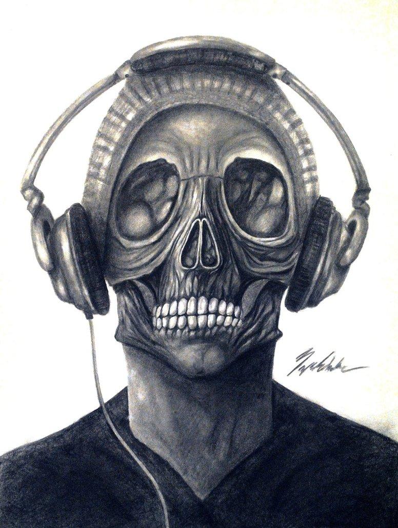 776x1030 Skull With Headphones By Brycesobotka