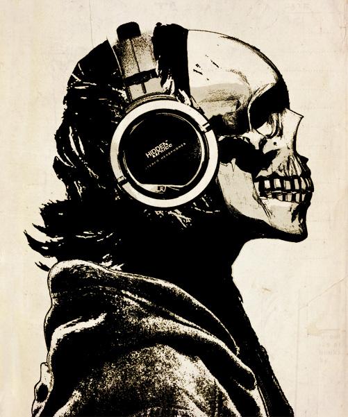 501x601 Skull And Headphones By Hiddenmoves