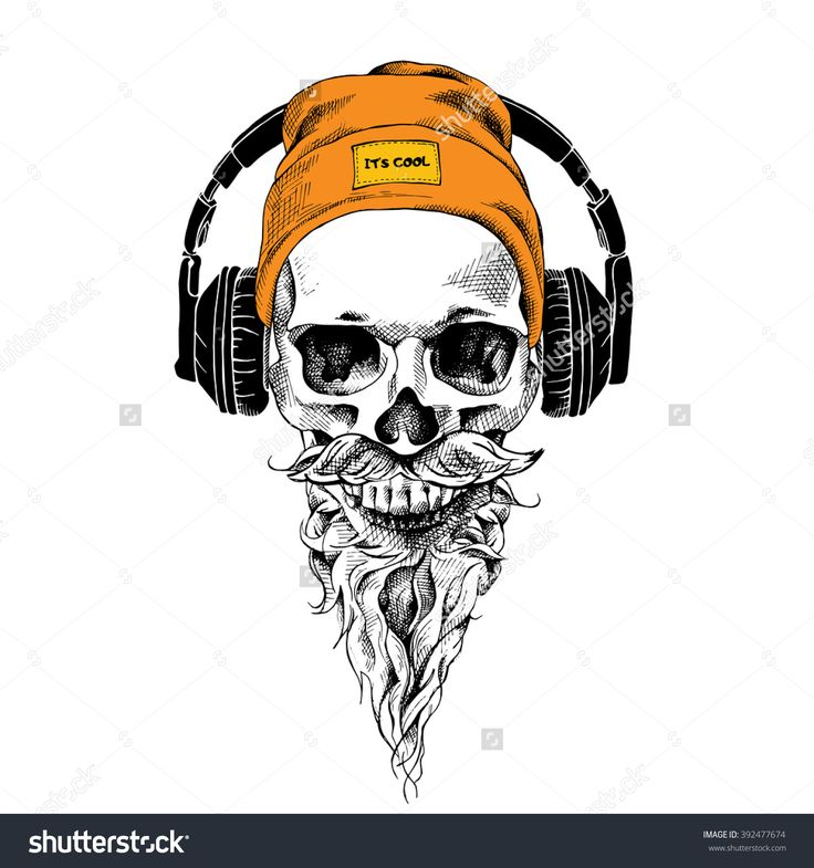 736x785 Skull With Beard, Mustache In The Hipster Hat And Headphones