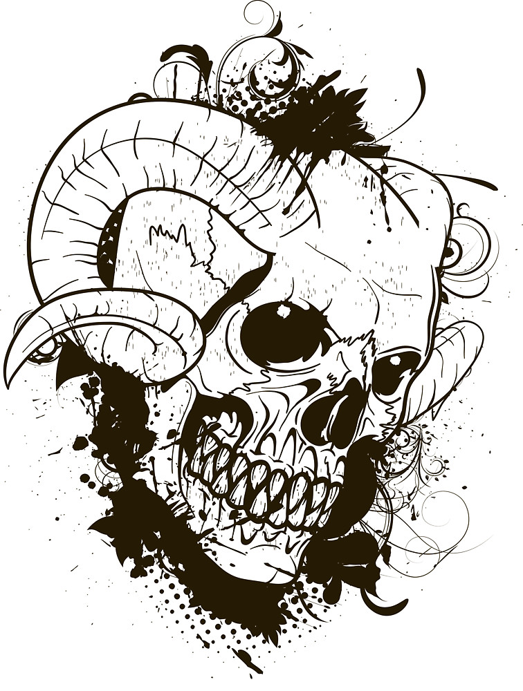 756x1000 Horned Skull By Kimberlymarie Redbubble