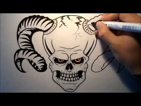 480x360 How To Draw A Skull With Horns