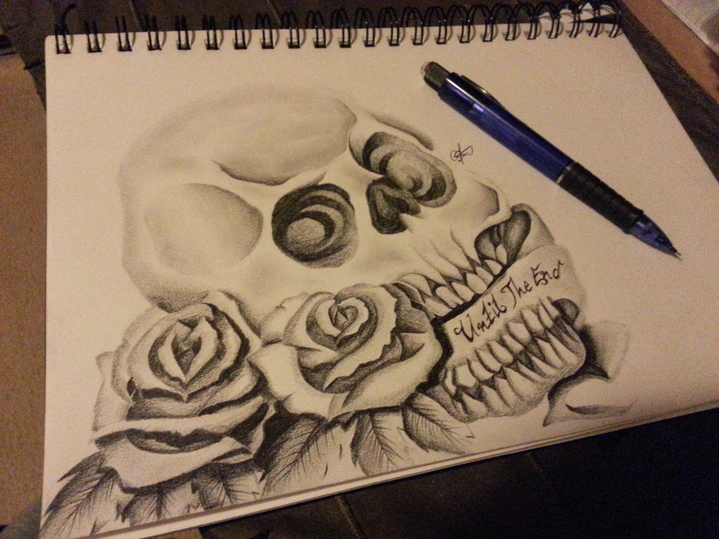1024x768 Skull And Roses Tattoo Drawing By Cassandrawilson