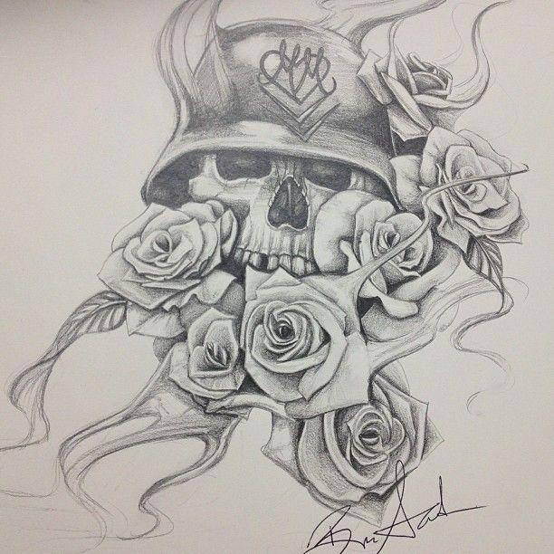612x612 Skull And Roses. Smoke. Hand Drawn Art.