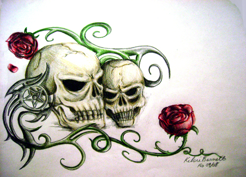 500x361 Skulls And Roses By Scissormetimbers