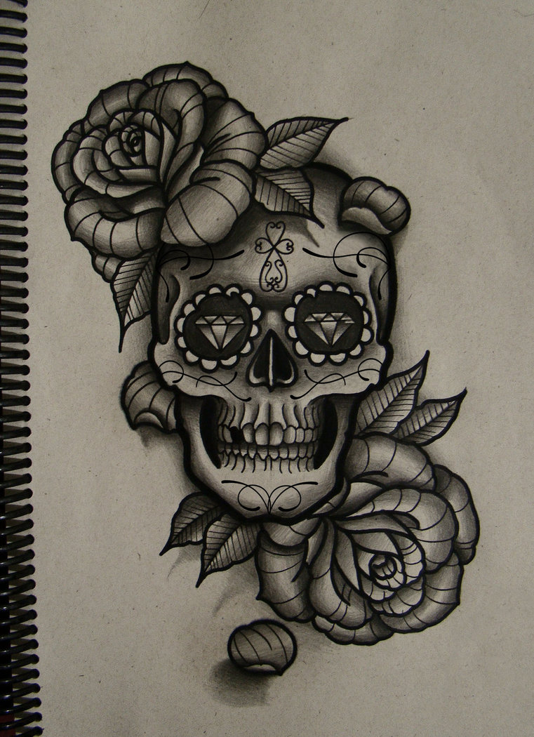 761x1050 Skull And Roses By Frah
