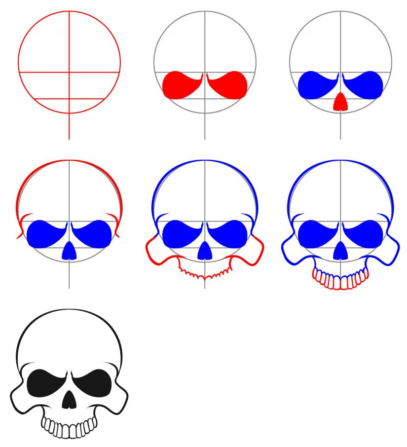 825x906 How To Draw An Easy Skull How To Easy, Drawings