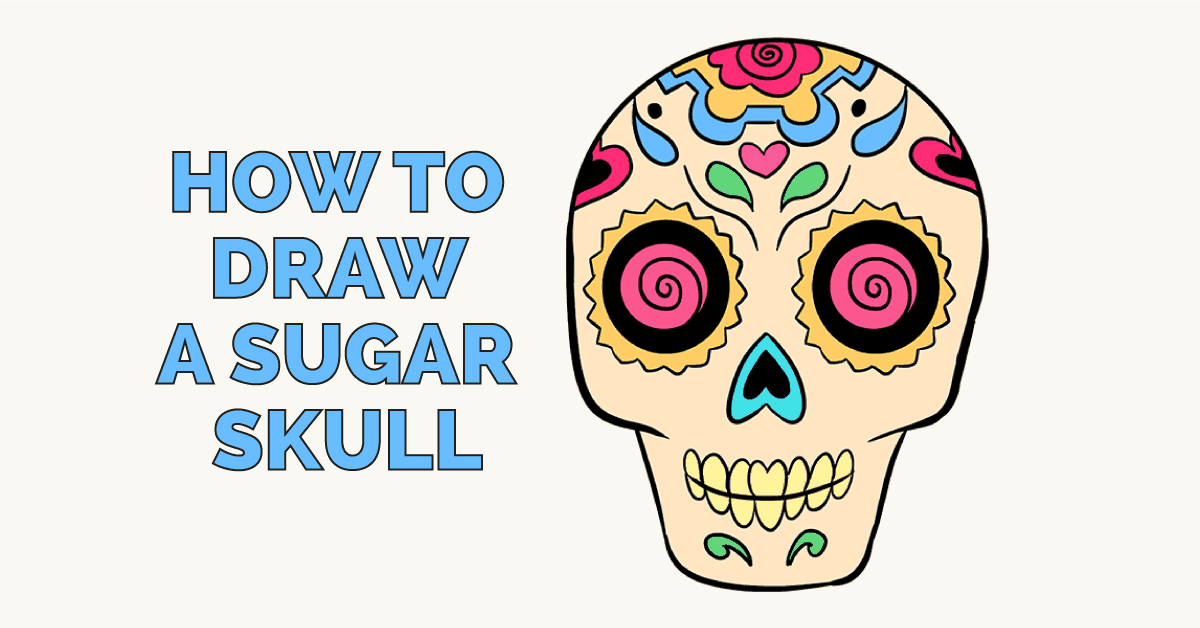 1200x628 How To Draw A Sugar Skull Step By Step Tutorial Easy Drawing