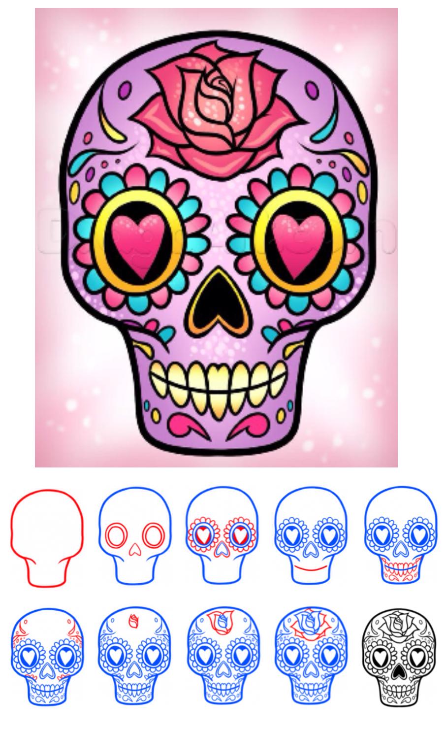 906x1482 How To Draw A Sugar Skull Easy !' (Via Dragoart) Random Stuff