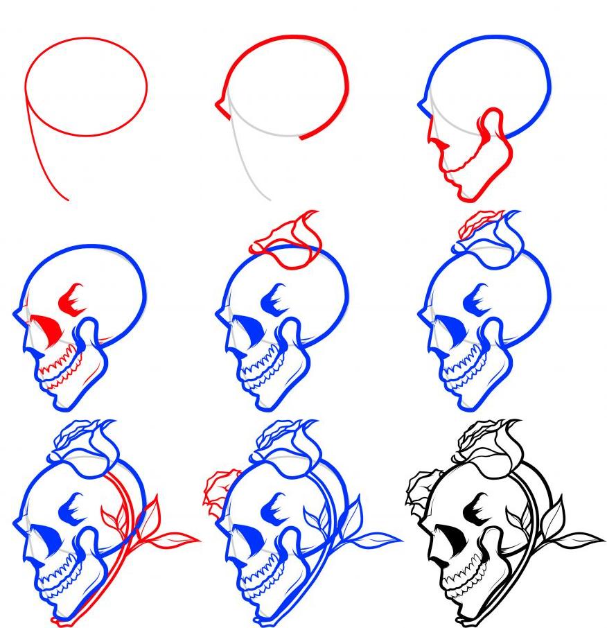 876x906 Step By Step Drawing Skulls How To Draw Skulls, Draw Skulls