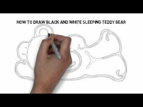 480x360 How To Draw Black And White Sleeping Teddy Bear Quickly And Easily
