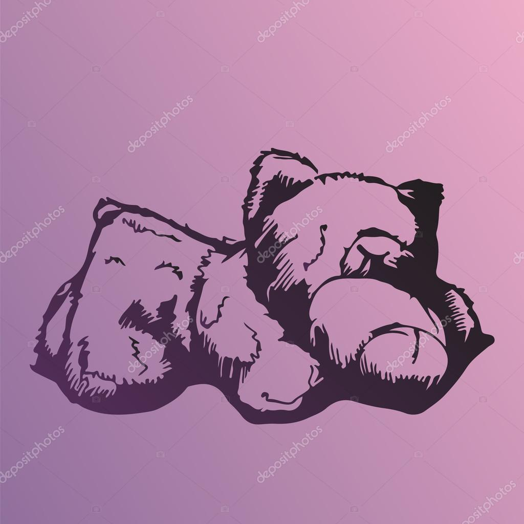 1024x1024 Rough Hand Drawn Sketch Of A Sleeping Bear Toy On Violet