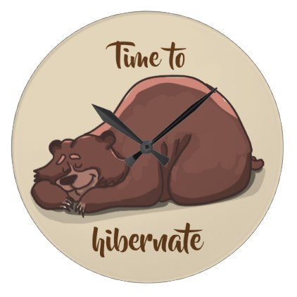 422x422 Sleeping Bear Time To Hibernate Large Clock Large Clock