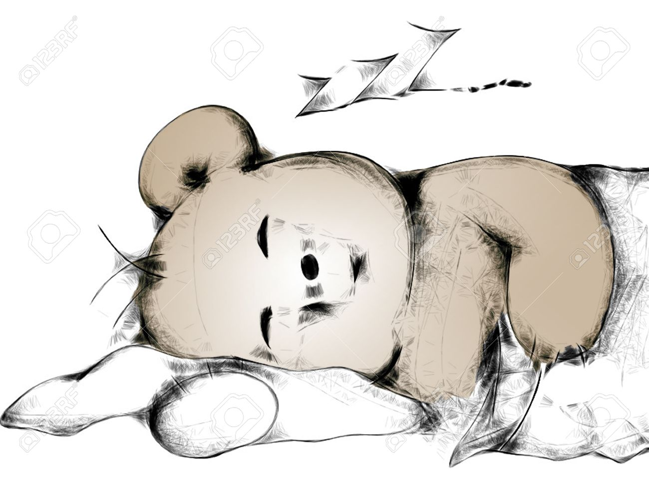 1300x977 Sleeping Cartoon Teddy Bear Stock Photo, Picture And Royalty Free