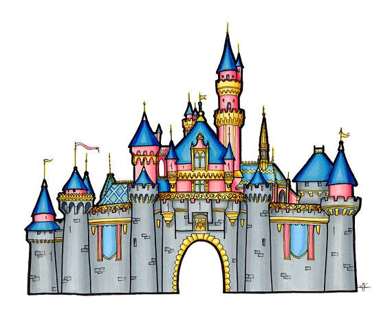 570x456 Disney Castle Drawing Sleeping Beauty Castle Illustration