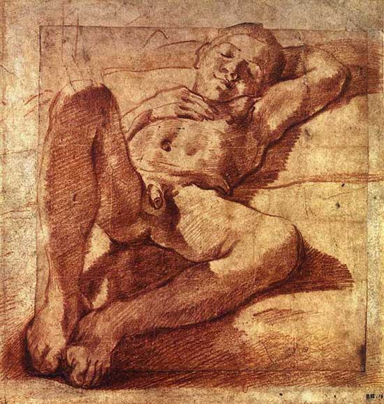 550x579 Study Of A Sleeping Boy (1585) [1][2] Is A Drawing By Ludovico