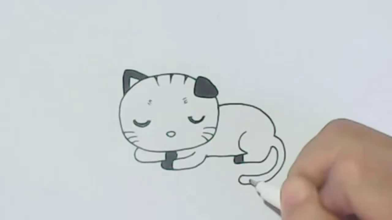 1280x720 How To Draw Cartoon Sleeping Cat.