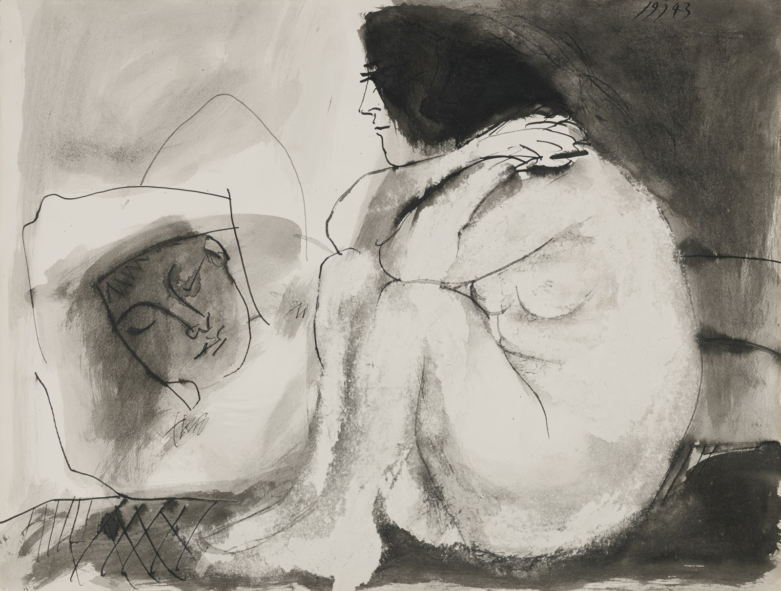 1600x1210 Pablo picasso sleeping Man And Sitting Woman Art