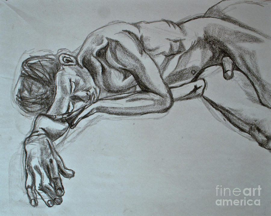900x717 Sleeping Man Drawing By Cassandra Ronning